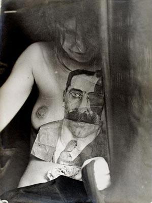 """""""Apparition d'un visage d'homme paraissant dessine et decoupe"""" sur la poitrine du medium Eva Carriere"""