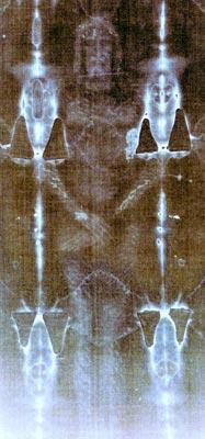 Le suaire de Turin, face avant, image negative.
