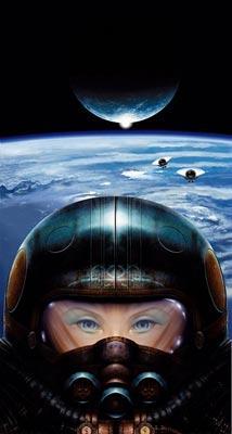 Gros plan d'une jeune femme pilote d'un engin extra atmospherique.