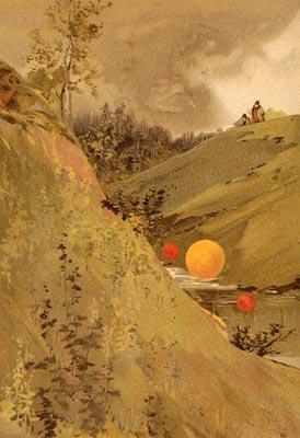 Superbe representation de foudre en boules au XIXe siecle.