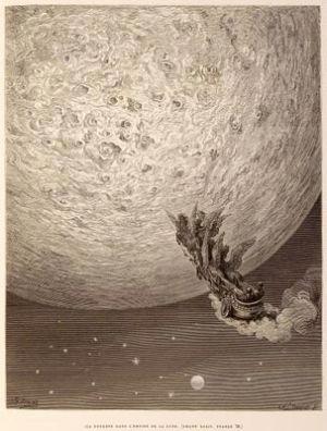 Voyage vers la Lune sur un char tire par quatre hippogriffes (in le «Roland furieux» de l'Arioste).