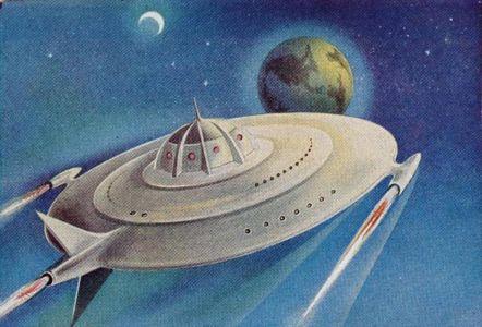 """Soucoupe volante a reaction, """"en route vers la Terre"""""""